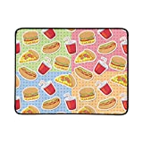 SHAOKAO Colorful Fast Food And Drink Pattern Portable And Foldable Blanket Mat 60x78 Inch Handy Mat For Camping Picnic Beach Indoor Outdoor Travel