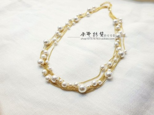 TKHNE Pre-Fall 2018 purchasing genuine imitation pearl beaded necklace pendant chain short alloy