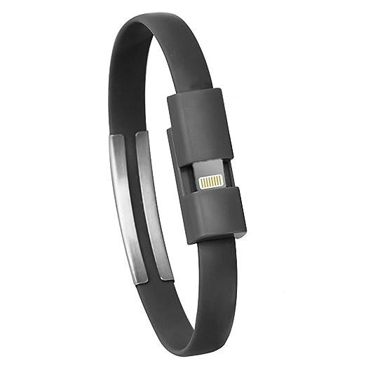 Cable Micro USB de Pulsera, Cargador de YouGer Cable de Datos de Carga para iPhone 6 / 6s / 7 / 7plus / 8 (8Pin para iPhone5 / 6, Negro)