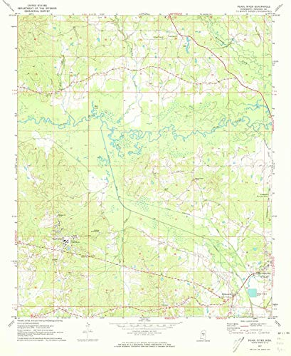 YellowMaps Pearl River MS topo map, 1:24000 Scale, 7.5 X 7.5 Minute, Historical, 1972, Updated 1973, 26.8 x 22 in - Tyvek ()