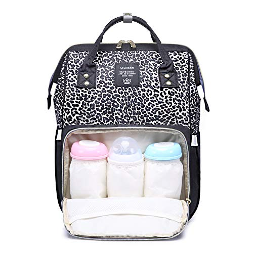 Leopard Diaper Bag Backpack Maternity Nappy bag Baby Bag Organizer for Mom Dad (Black-Leopard)