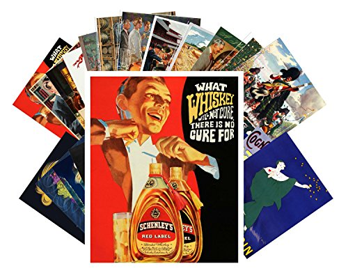 Postcard Pack 24pcs Whiskey and Cognac Ads Posters Vintage Adverts