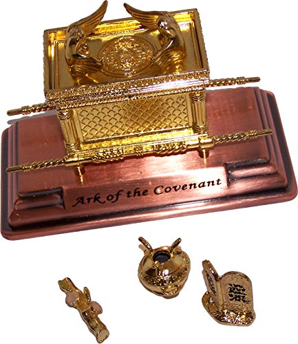Set Figurine Chest (The Ark Of The Covenant Gold Plated with Ark Contents replica ( Aaron Rod, Tablets and Manna ) - Mini)