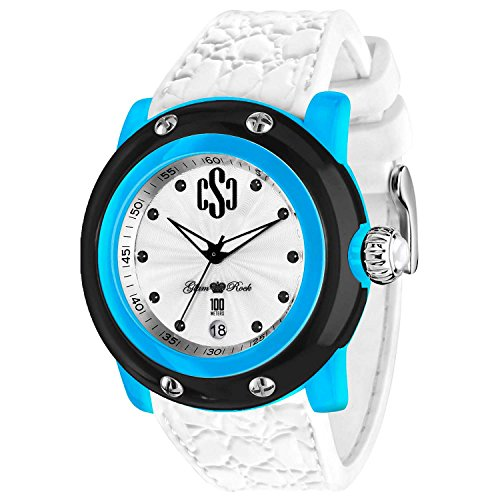 GLAM ROCK UNISEX MIAMI BEACH 46MM WHITE SILICONE BAND QUARTZ WATCH GR2401
