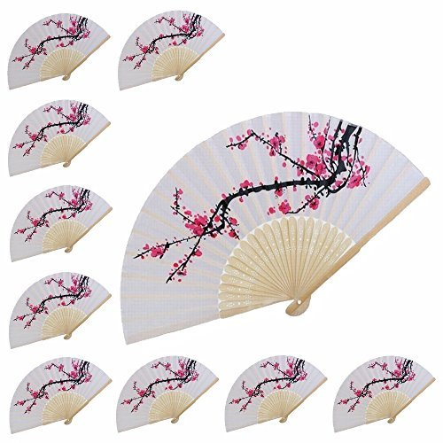 (VANVENE 10 pcs Delicate Cherry Blossom Design Silk Folding Hand Fan Wedding Favors)