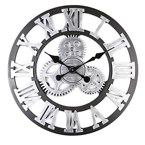 - NTYDE Vintage Gear Wall Clock, 18 Inch 3D Mute Non-Ticking Country Style Wooden Clock, Living Room Hotel Restaurant Decoration