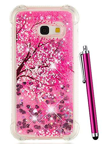 Galaxy J3 Emerge Glitter Case, J3 Prime Case 2017, CAIYUNL Glitter Liquid Sparkle Clear Floating Bling Women Men Phone Cover Luxury Bumper for Samsung J3 Mission/J3 eclipse (Hot Pink Tree)