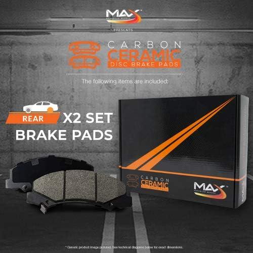 Max Brakes Rear Carbon Ceramic Performance Disc Brake Pads KT024752 Fits 2002-2006 Escalade Avalanche Silverado 1500 4WD
