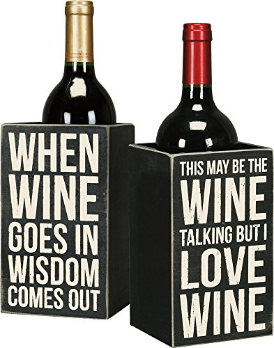 (Primitives By Kathy 20020 Classic Double-Sided Wooden Wine Box, 4.25 x 7.25 x 4.25-Inches, When Goes in)