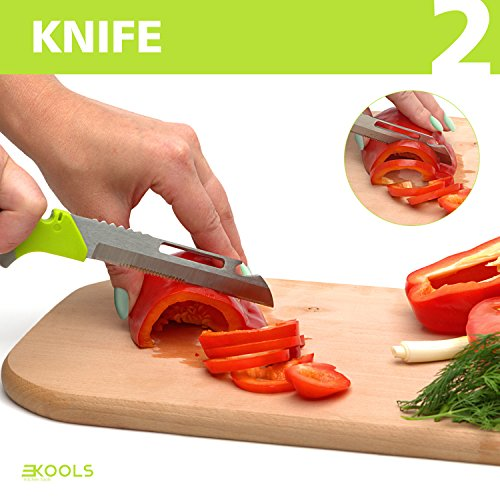 kools Clever 8-in-1 Food Chopper Set - with Chopping Board and Detachable Knife, Ideal as Vegetable and Meat Chopper or Slicer, Bottle Opener, Peeler, including Sharpener and Finger Guard by kools (Image #2)