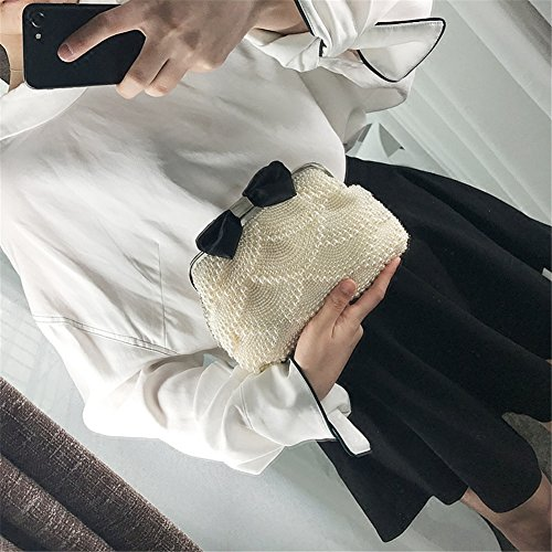 Lawevan® Mujer L24cm * W20cm embrague de la caja cubierto con las perlas Bolsa Bolso de la tarde con el embrague de la boda del bowknot blanco