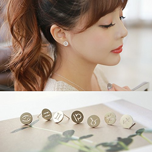 Cancer Gemini Taurus Zodiac Earrings Women Girls Elegant Simple Personality Drawing Earrings Hypoallergenic Jewelry ()