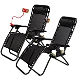 Idealchoiceproduct Set of 2 Zero Gravity Adjustable Headrest Lounge Beach Chairs Folding Outdoor Camping Recliner Black W/Utility Tray-Black Color,2pcs Product ID: 614405310178