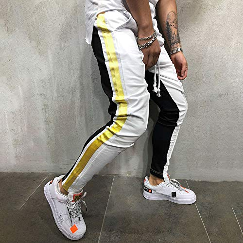 Elastique Mcys Slim Waist De Pantalon Jogging Longue Coupe Homme Blanc wrg8rBxqY