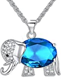 Womens and Girls Pendant Necklace Jewelry Blue Crystal Elephant Best Gift for Ladies
