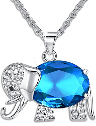 Elephant Crystal Jewelry - Womens and Girls Pendant Necklace Jewelry Blue Crystal Elephant Best Gift for Ladies