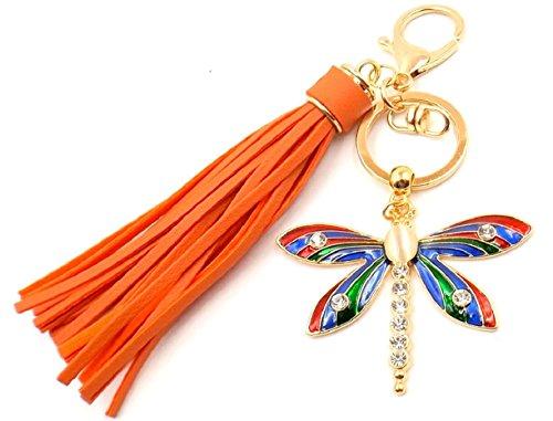 MOP Keychain Purse Charm Car Pocketbook Accessory Orange Tassel Nature Goldtone (Dragon Mop)