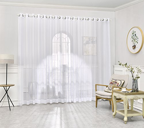 DecoSource - Grommet Semi-Sheer Extra Wide - 108 Inch Long - 2 Wall-to-Wall Curtain Panels - Total Size 216 Inch Wide (108 Inch Each Panel) (2 Panels - 108