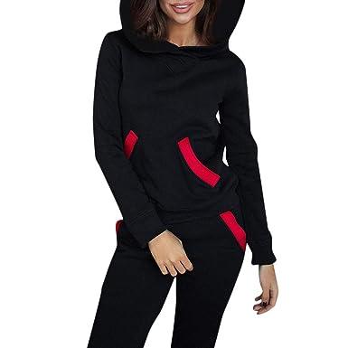 SOMESUN Femmes survêtement Sweats Capuche Top Pants Ensembles Sport Porter  Costume Occasionnel Sexy Automne Hiver 79f66ba951e
