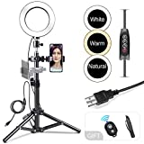 Ring Light 6', Dimmable Ring Light with Stand and Phone Holder, RTAKO 3 Colors Video Lighting Kit for YouTube Videos Live Stream, Makeup Light, Selfie Light Photography Compatible with iPhone Android