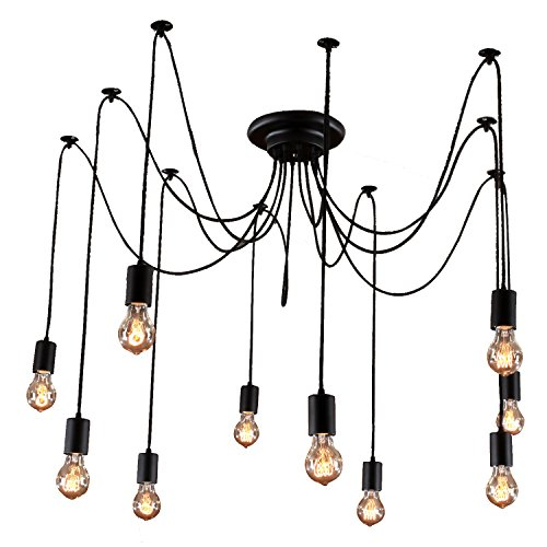 - Unitary Brand Antique Black Large Barn Chandelier with 10 Lights Painted Finish Bulbs Included