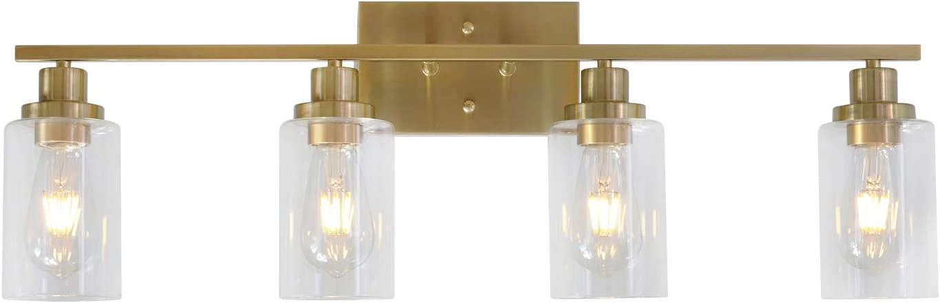 Amazon Com Melucee Brass Vanity Lights Wall Sconce 4 Light Bathroom Light Fixtures With Clear Glass Shade Wall Lights Bedroom Porch Light Fixtures Wall Mount Home Improvement