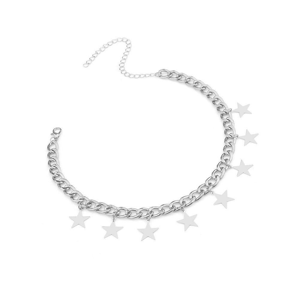 a0595e07ab5ea5 Amazon.com: CrazyPiercing Silver Tone Star Necklace, Tassel Star Choker  Chain, Boho Statement Necklace Charm Pendants Collar, Dangling Star Curb  Link Chain ...