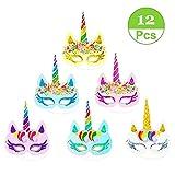 12 PCS Rainbow Unicorn Paper Masks Rainbow Color Unicorn Paper Masks for Kids Birthday Party