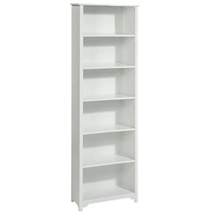 Oxford 24 Inch White Six Shelf Open Bookcase SIX SHELF 24W WHITE