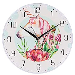 KI Store Kids Wall Clock Unicorn Decorative 12-Inch Silent Non Ticking Cute Wall Clock Battery Operated Bedroom Nursery Kindergarden