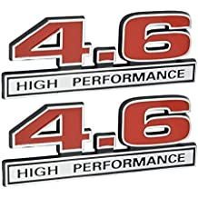"4.6 Liter High Performance Engine Emblems in Chrome & Red - 5"" Long Pair"
