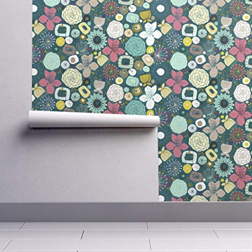Peel-and-Stick Removable Wallpaper - Oriental Oriental Floral Peacock Mid Century Mod Oriental Floral by Scrummy - 24in x 60in Woven Textured Peel-and-Stick Removable Wallpaper Roll