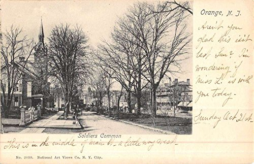 Orange New Jersey Soldiers Common Street View Antique Postcard - New Jersey Commons