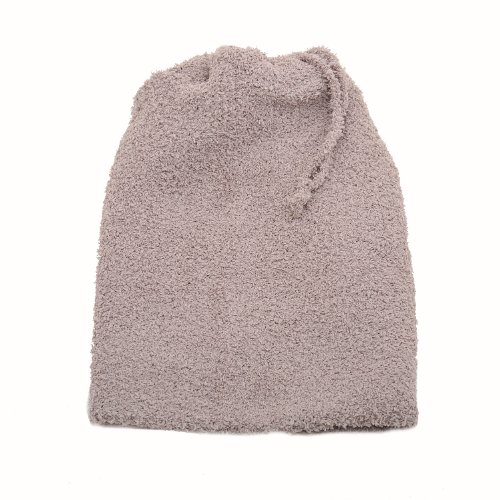 Tie Top Neck Warmer Beanie Hat Combo Taupe Color ()