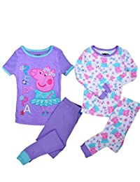 Peppa Pig Toddler Girls' Ballerina 4 Piece Cotton Pajama Set (4T)