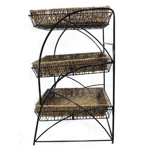 The Lucky Clover Trading Tristan Triple Tiered Square Display with Handwoven Seagrass Baskets