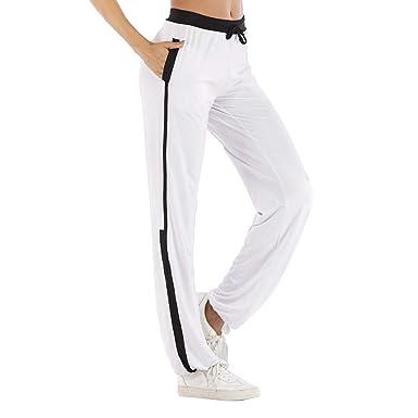 Femme Pantalon Couleur Unie Casual Sports Taille Haute Trousers Automne Confortable  Yoga Pantalon avec Poche pour 292c7795b74