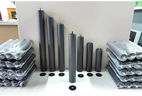 Abitti Pack 6 Patas cilíndricas METALICAS 35cm Altura Especial, ANTIRUIDO para Base TAPIZADA o SOMIER. Montaje rápido y fácil