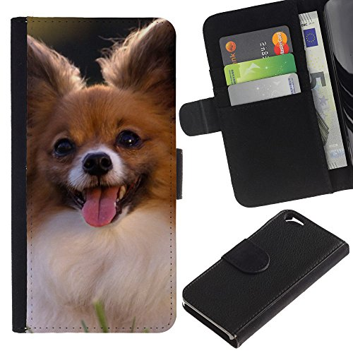 OMEGA Case / Apple Iphone 6 4.7 / Chihuahua small dog pet canine sun / Cuir PU Portefeuille Coverture Shell Armure Coque Coq Cas Etui Housse Case Cover Wallet Credit Card