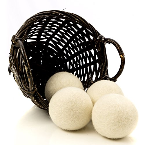 (Organic Wool Dryer Balls, 4-Pack — Natural Ecofriendly Fabric Softener — Reusable Dryer Sheets for Infants — Soft and Gentle on Clothes & Skin)