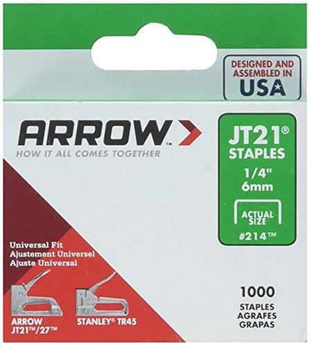 Arrow Fastener 214 5 Pack 1/4in. JT21 Light Duty Staple, 1,000 Staples per Pack