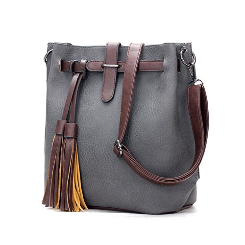 Simple Shoulder Bags Fashion Women Bag Large Capacity Solid Tassel Hanging Portable Outdoor Travel Bags Gray