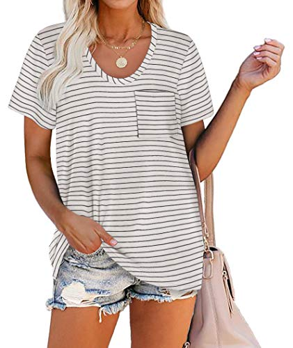 WIHOLL Women Summer T Shirts Short Sleeve Rounded V Neck Pocket Tee Tops