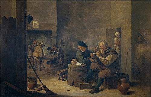 The High Quality Polyster Canvas Of Oil Painting 'Teniers David Fumadores 17 Century ' ,size: 8 X 12 Inch / 20 X 32 Cm ,this Vivid Art Decorative Prints On Canvas Is Fit For Garage Gallery Art And Home Decoration And Gifts