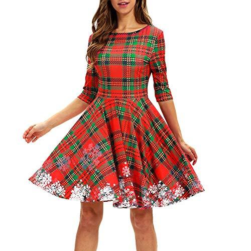 (Women Mini Dresses Duseedik O Neck Snowflake Dress Ladies Christmas Half Sleeve Party)