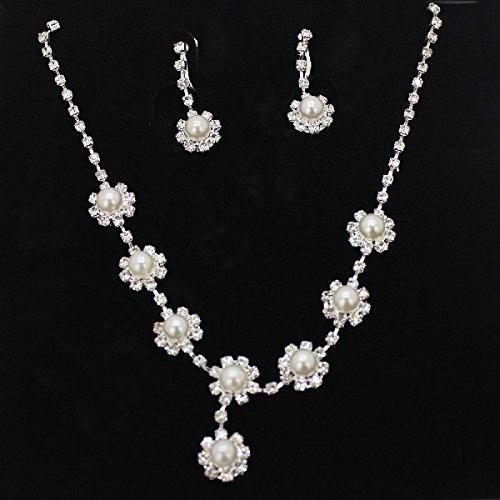 joylive Bridal Faux Pearls Rhinestone Necklace Flower Water Drop Earrings Jewelry Set
