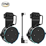 Actor Wall Mount Hanger Stand for Dot 2nd Generation & Other Round Voice Assistants, A Space-Saving Solution for Your Smart Home Speakers without Messy Wires or Screws - (Black 2 Pack)