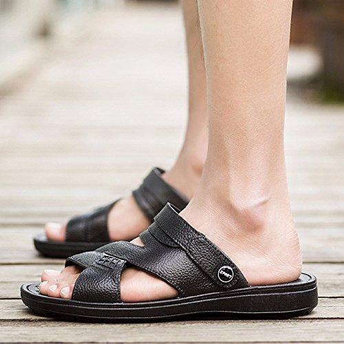 Das neue Sommer Männer Sandalen Strand Schuh Männer Freizeit Leder Sandalen RutschfestDualer GebrauchSandalen ,schwarz,US=6,UK=5.5,EU=38 2/3,CN=38