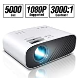ELEPHAS 2020 Mini Movie Projector, 5000 LUX Full HD 1080P Video Projector, with 50, 000 Hours LED Lamp Life and 200