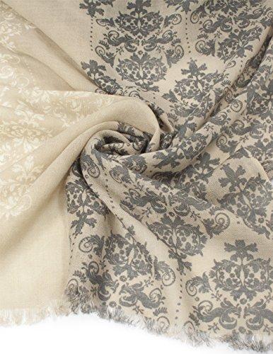 Dahlia Women's 100% Merino Wool Pashmina Scarf - Victorian Floral Scroll - Gray